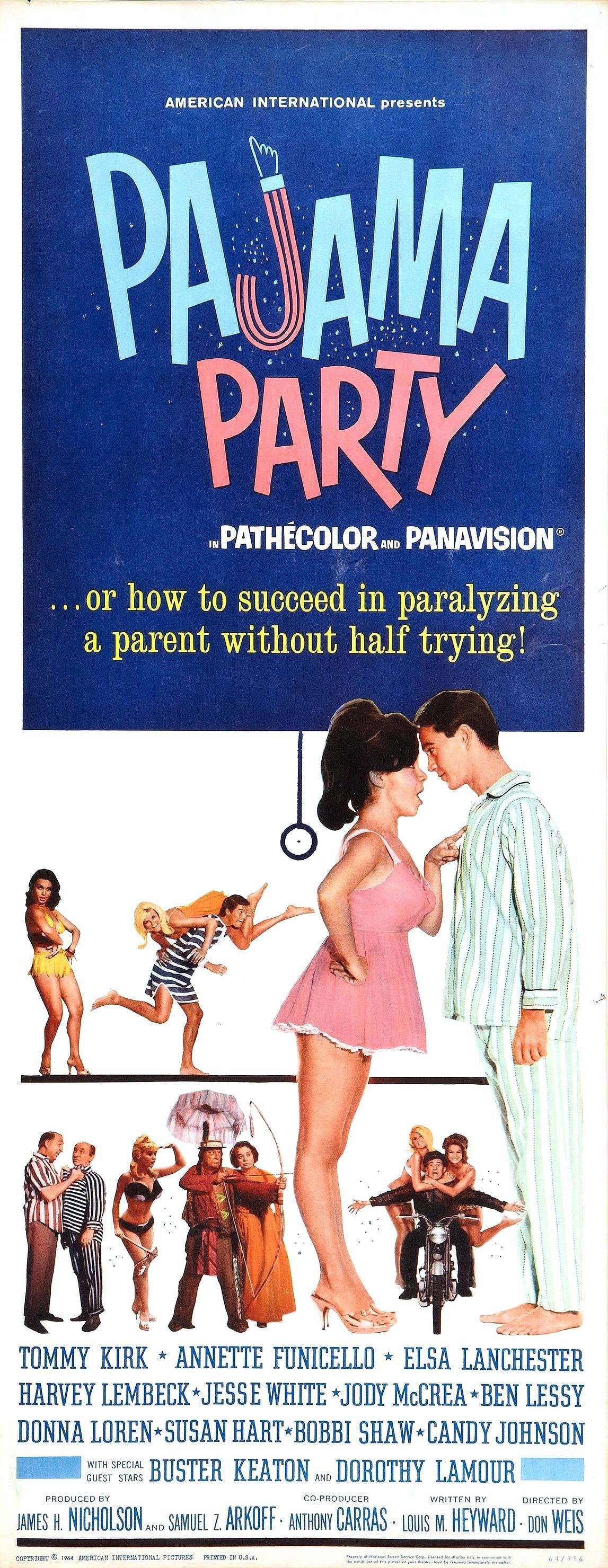 movie poster for the aip film quotpajama partyquot 1964
