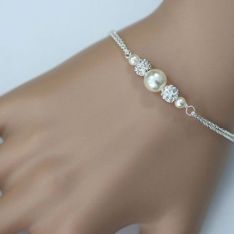 Bridesmaid Pearl Bracelet Personalized Swarovski Ivory Jewelry Gift Wedding