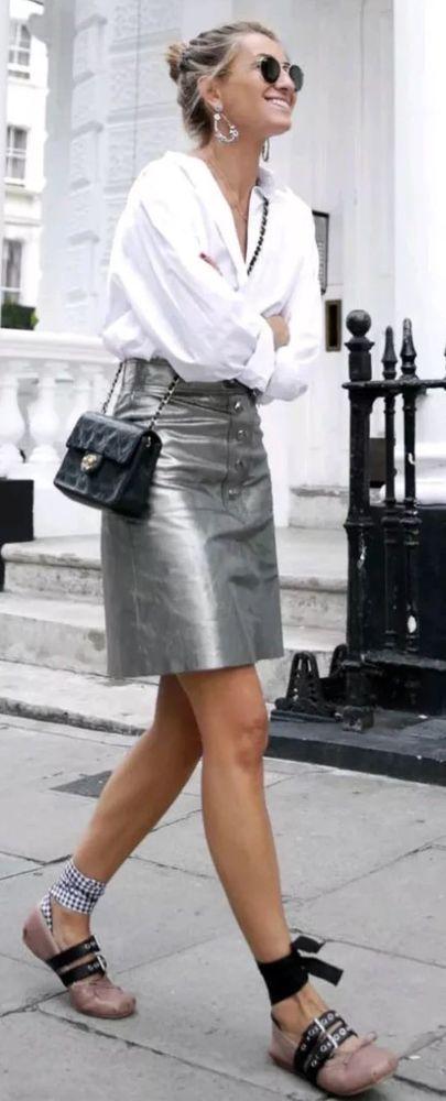 8a8956e8 zara metallic Silver skirt genuine leather high waist Size L | eBay ...