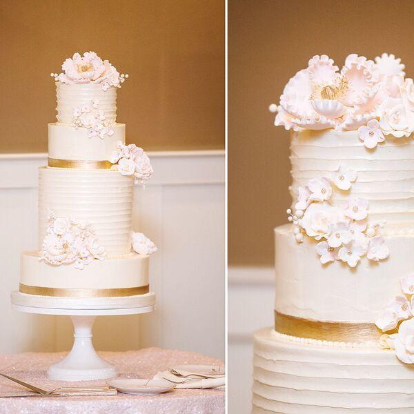 Tiered Horizontal Texture Wedding Cake