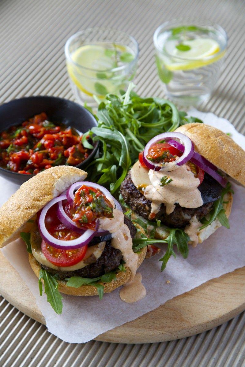 Beef Burgers With Roast Capsicum Basil Salsa And Smoky Sauce