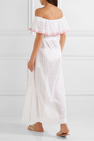 Mira Off-the-shoulder Broderie Anglaise Cotton Midi Dress - White Lisa Marie Fernandez
