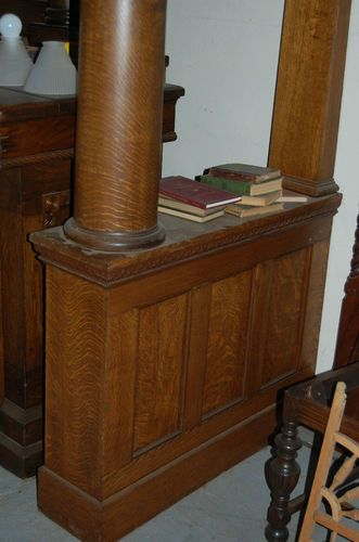 Vintage Oak Colonnade Room Divider Bookcase Columns Architectural
