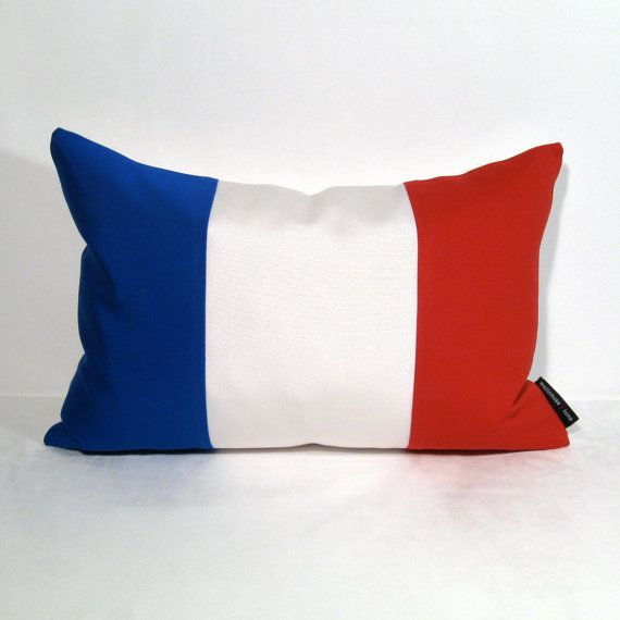 France Flag Pillow Cover Outdoor Cushion Decorative Blue White