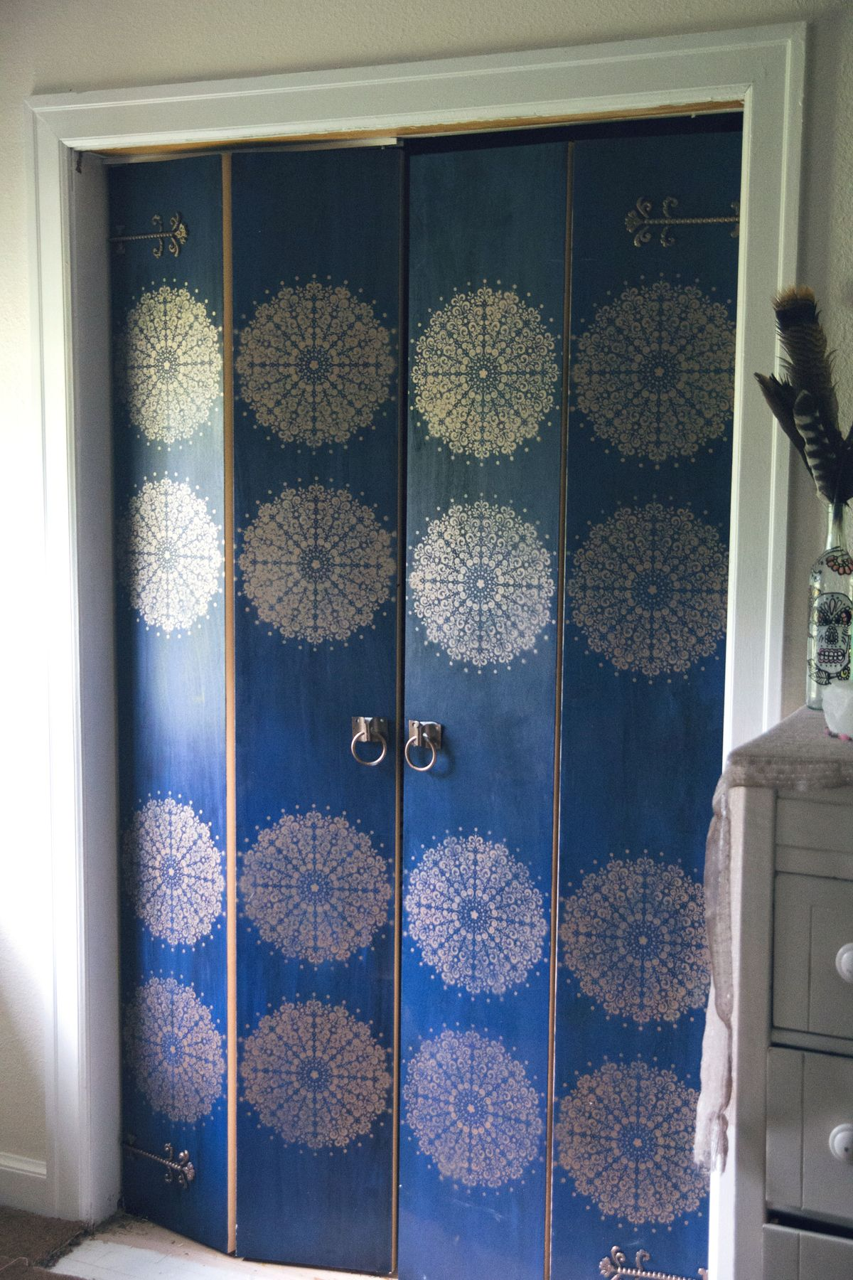 Boring Masonite Bifold Closet Doors Transformed With Blue Paint