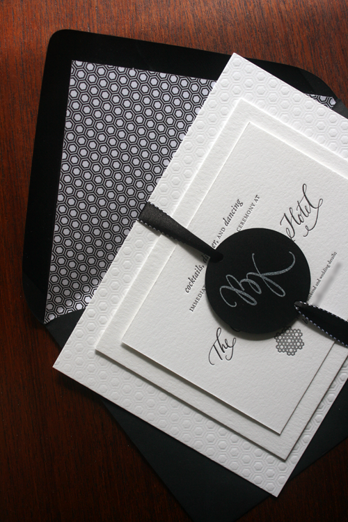 1b94619825fcda7202adb62c7cee73de kristina brock's modern black and white wedding invitations,All White Wedding Invitations