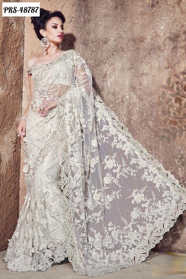 Wedding And Reception Special Off White Net Designer Saree