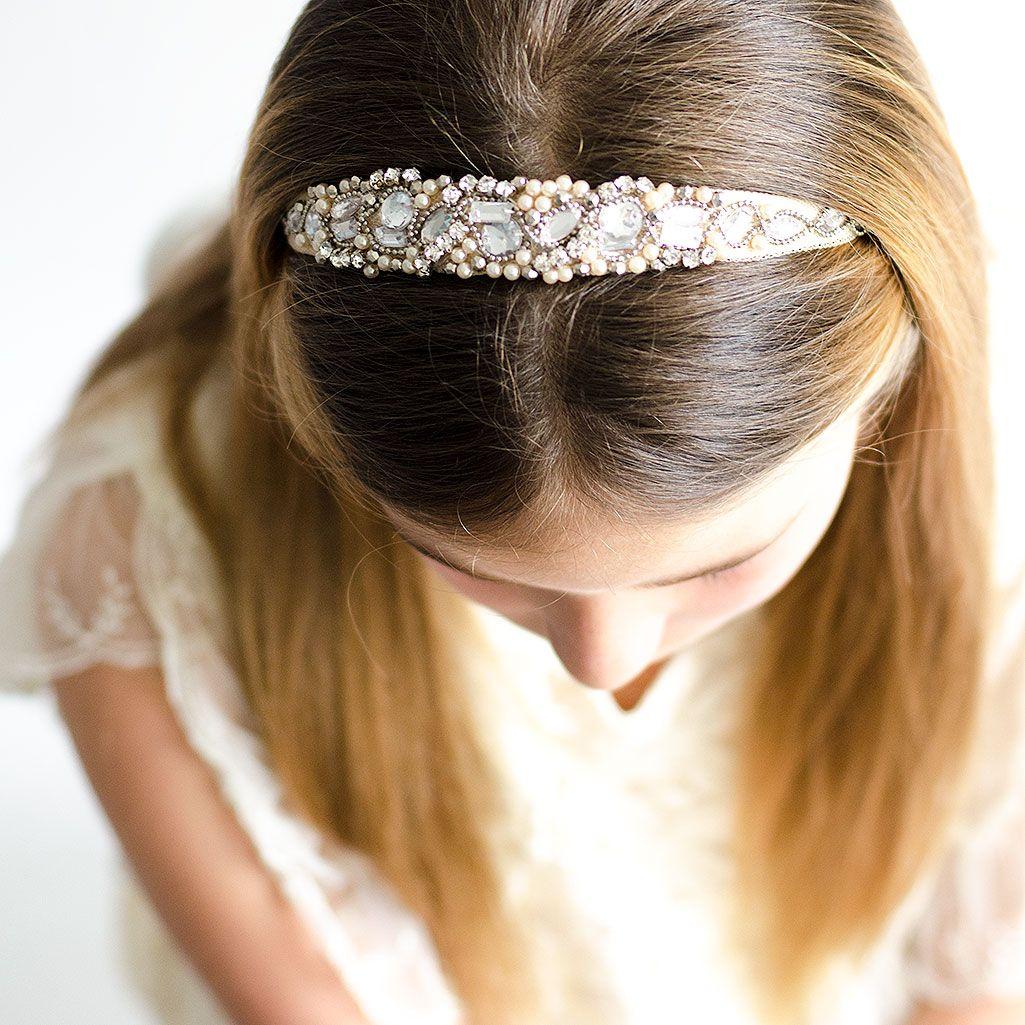 Diadema para ni as de comuniones con perlas y piedrectias - Como hacer adornos para el pelo ...