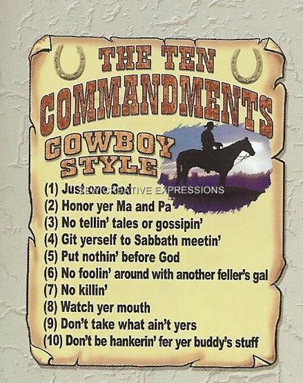cowboy ten commandments sign   Cowboy Ten Commandments Funny Country Western T Shirt   eBay