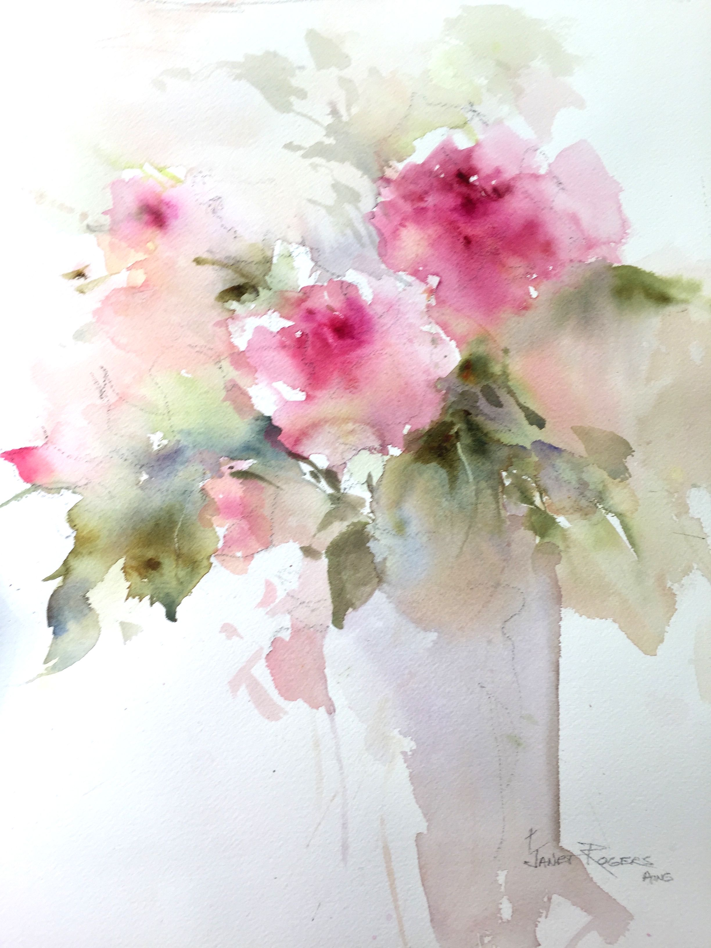 2016 17 janet rogers watercolour flowers pinterest for Abstract watercolour flowers