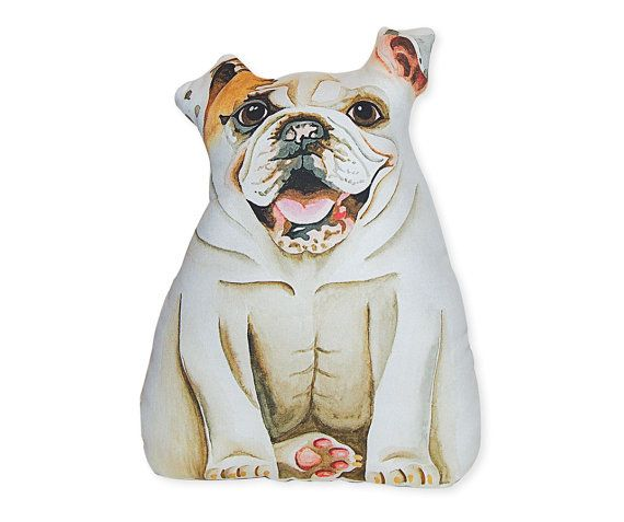 English Bulldog Stuffed Animal Large White By Deborahmixdesign