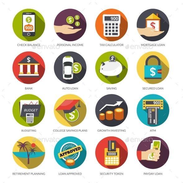 Loan Icons Set Flat Icons Set Icon Set Flat Icon