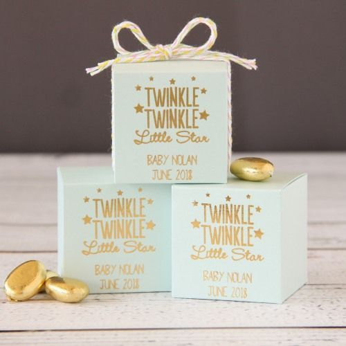 Personalized baby shower square favor box twinkle twinkle personalized baby shower square favor box negle Images