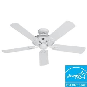 Hunter 52 In Mariner Indoor Outdoor White Wet Rated Ceiling Fan Ceiling Fan Wet Rated Ceiling Fans White Ceiling Fan