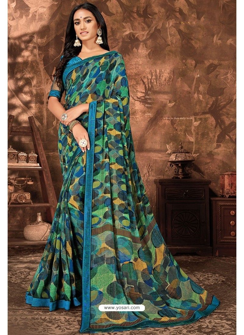 Blue Casual Wear Designer Printed Georgette Sari | Casual