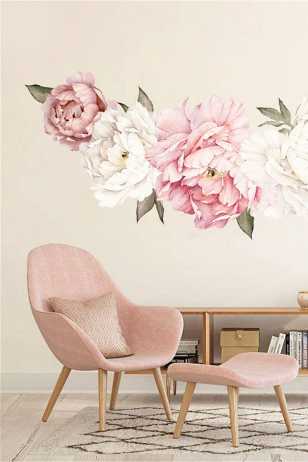 Pink Peony Flowers Wall Stickers Wall Decal Bedroom Living Room Home Decor