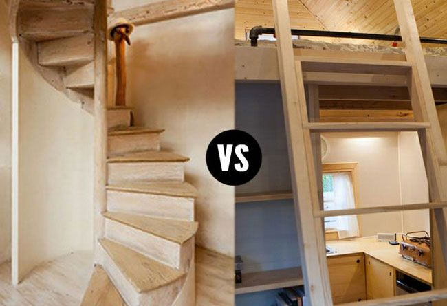 Tiny house stairs vs ladders i 39 m stairs all the way my for Stairs for small house