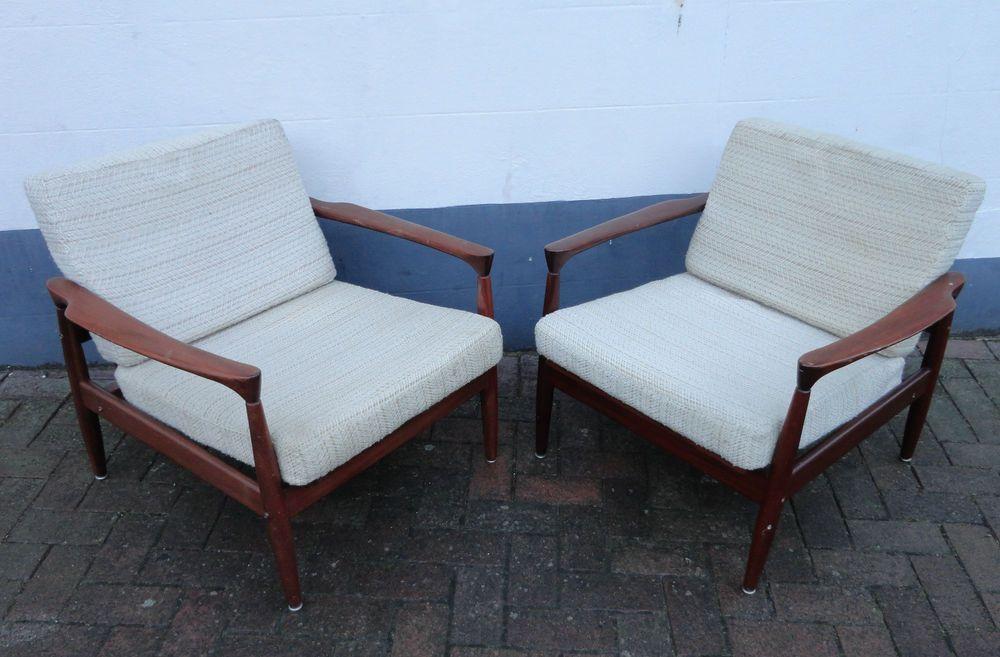 Vintage Pair of Danish Solid Teak Armchairs w/ Upholstery by Grete ...