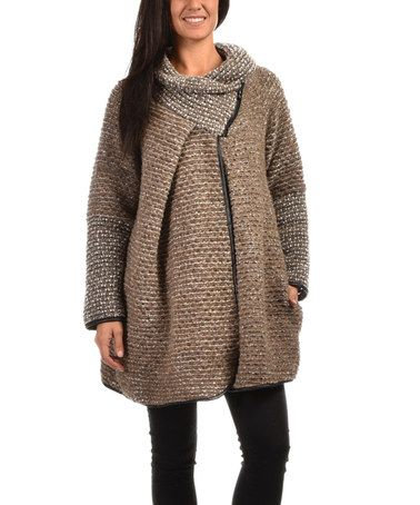 Another great find on #zulily! Taupe Melange Wool-Blend Asymmetric-Zip Coat - Women #zulilyfinds