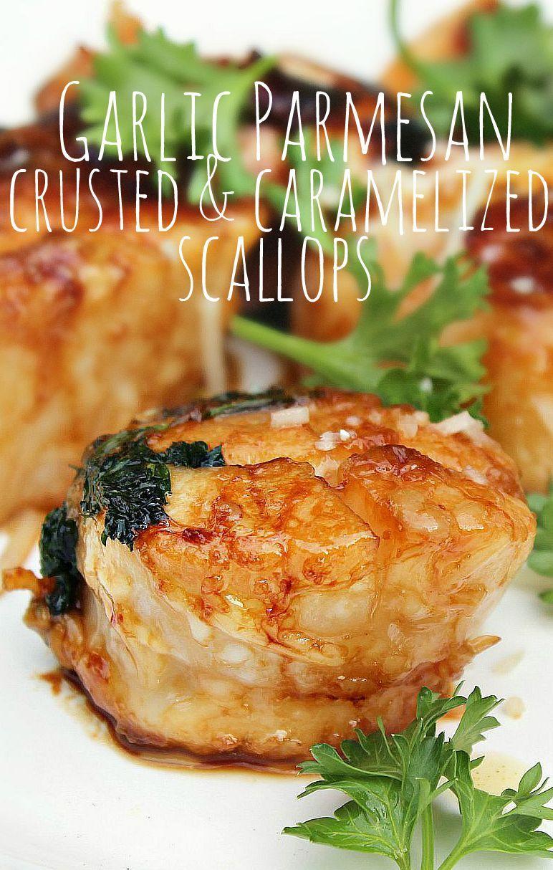 Garlic Parmesan Crusted & Caramelized Scallops