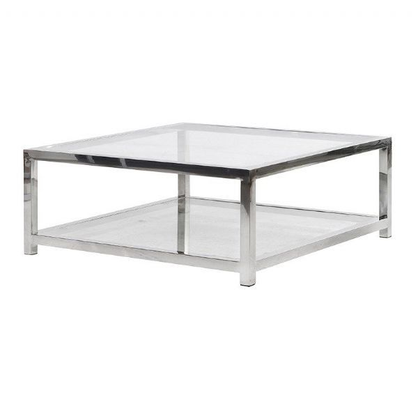Square Glass Coffee Table Silver