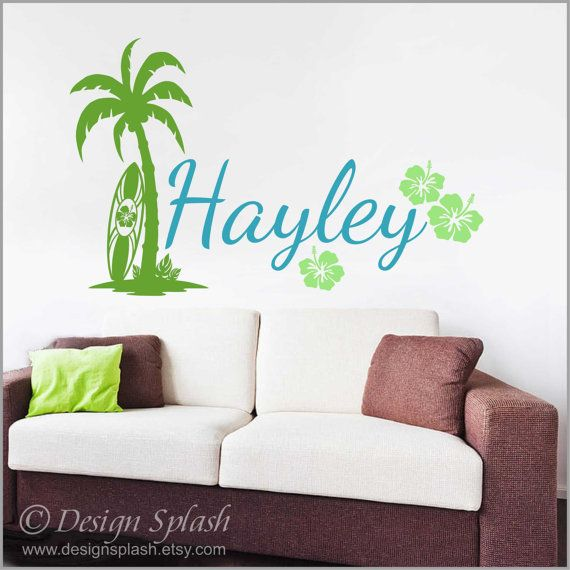 5 x Surfboards with Any Custom Name Wall Stickers Hibiscus Beach Surfing Surf