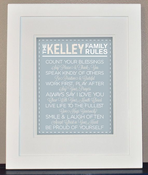 Personalized Family Rules Wall Art Print You by CarLynnCreations ...