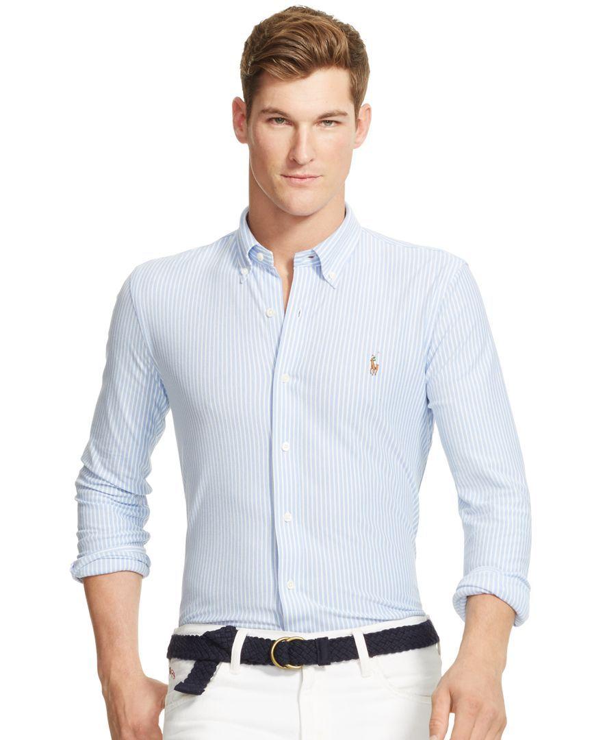 Polo Ralph Lauren L//S Blue Striped Men/'s Slim FIt Knit Oxford Dress Shirt