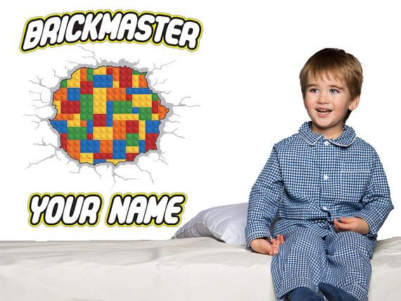 Brickmaster Custom Name Lego Style Wall Decal  Kids by WallJems