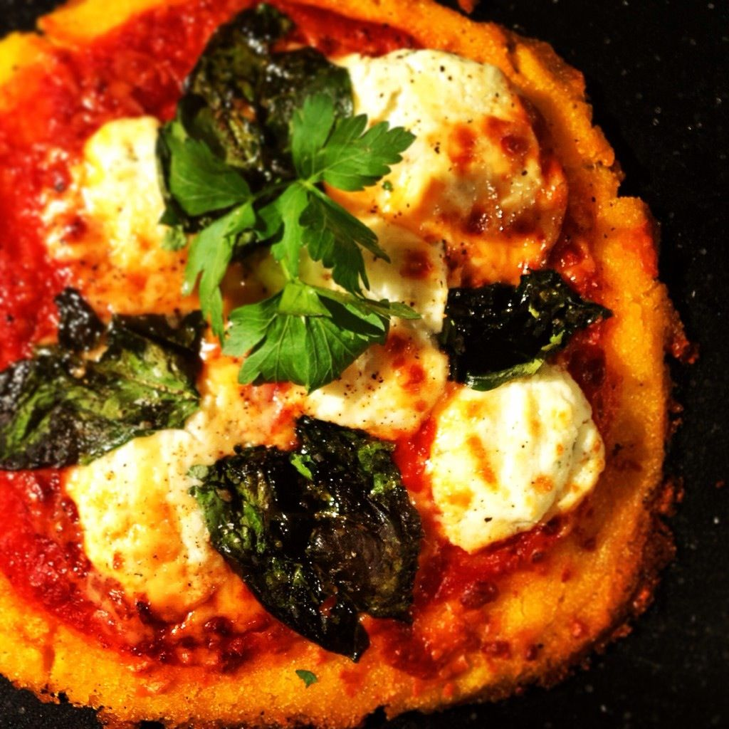 "Gluten Free Crispy Kale and Ricotta pizza with a ""Polenta"" crust ... #Glutenfree #HeartHealthy"