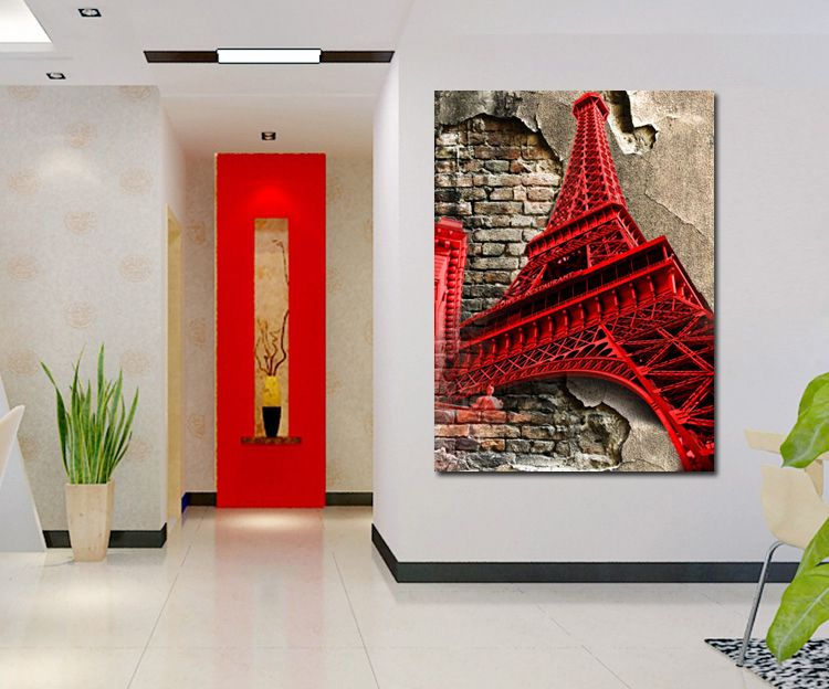 tableau moderne de la tour eiffel en style pop art pour sublimer votre deco int rieure. Black Bedroom Furniture Sets. Home Design Ideas