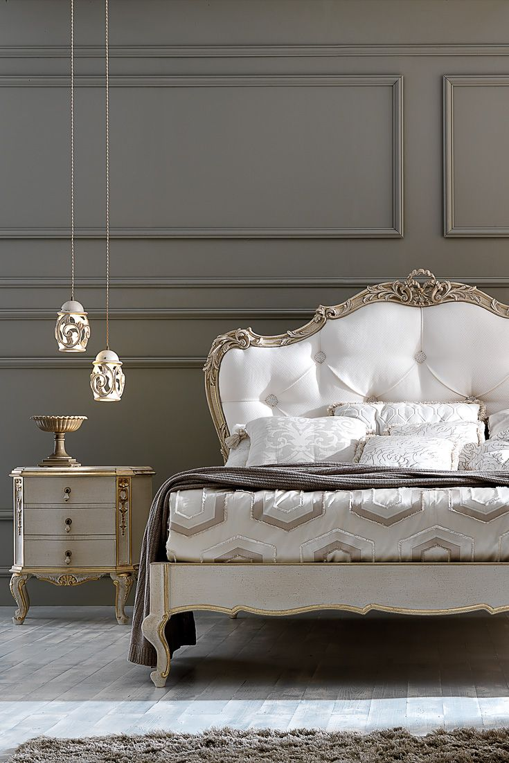 Ornate Carved Italian Rococo Button Upholstered Bed Classic Bedroom Furniture Upholstered Beds Bedroom Furniture Sets