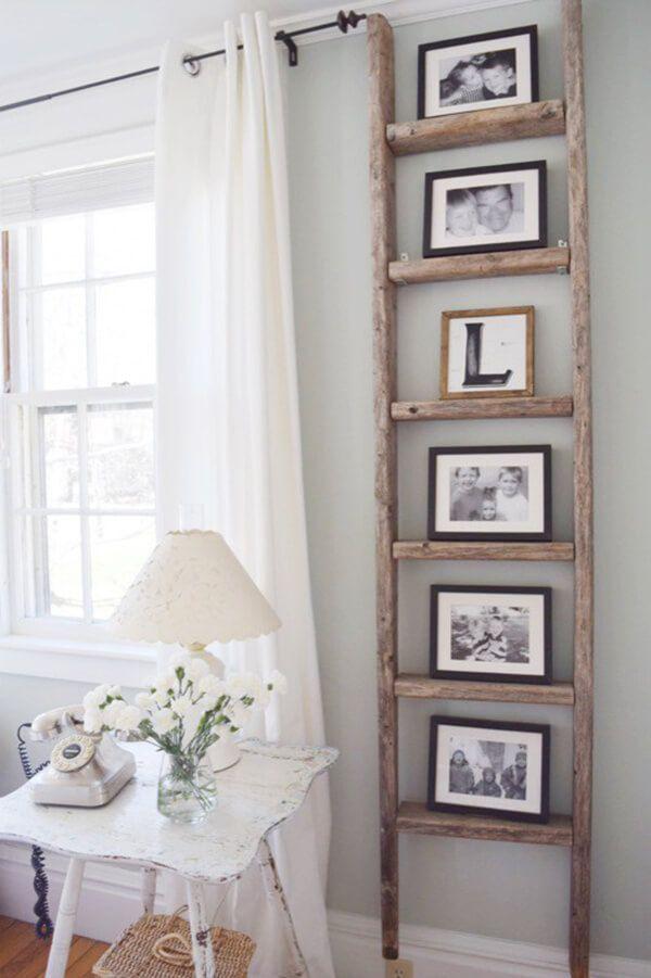 Antique Wooden Ladder Photo Display Farmhouse Decor Living Room Farm House Living Room Living Decor