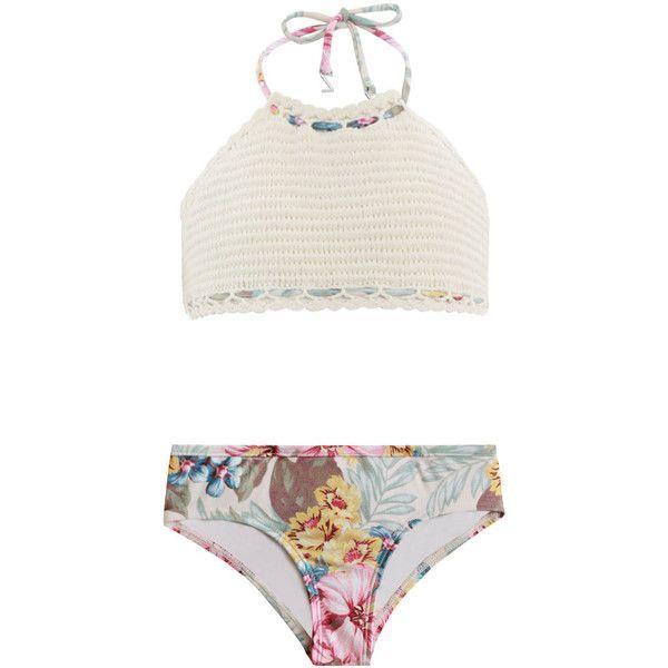 ZIMMERMANN Kali Crochet Halter Bikini (71 SGD) Liked On