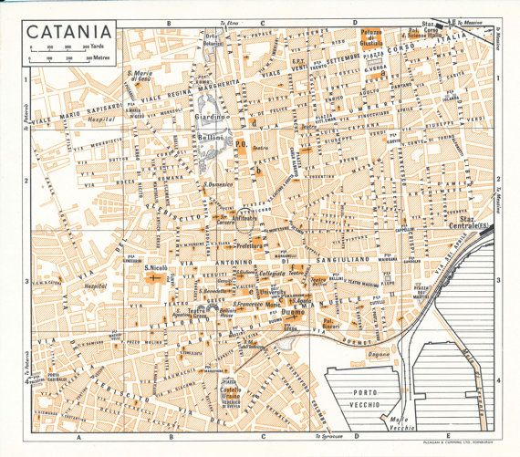 image regarding Printable Map of Sicily identified as 1959 Catania Sicily Italy Antique Map Items Catania