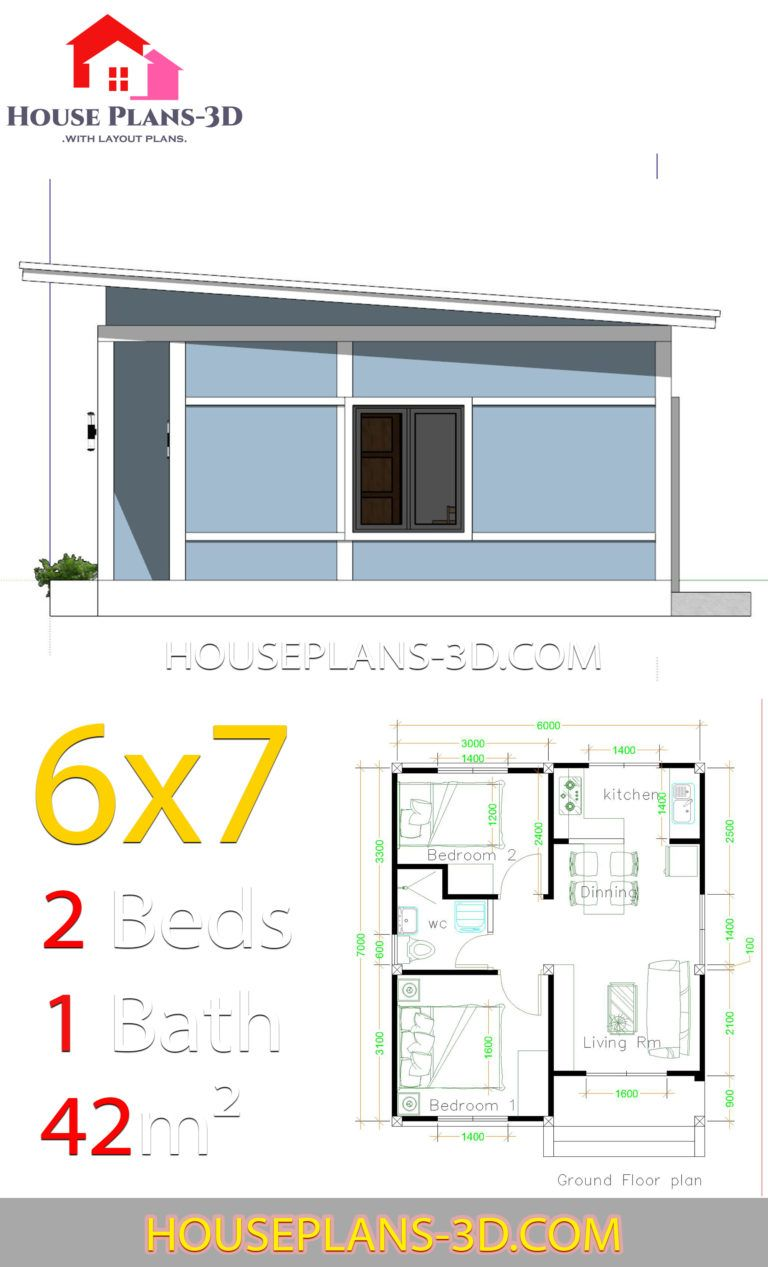 Simple House Plans 6x7 With 2 Bedrooms Shed Roof House Plans 3d In 2020 House Plans Small House Plans Simple House Plans