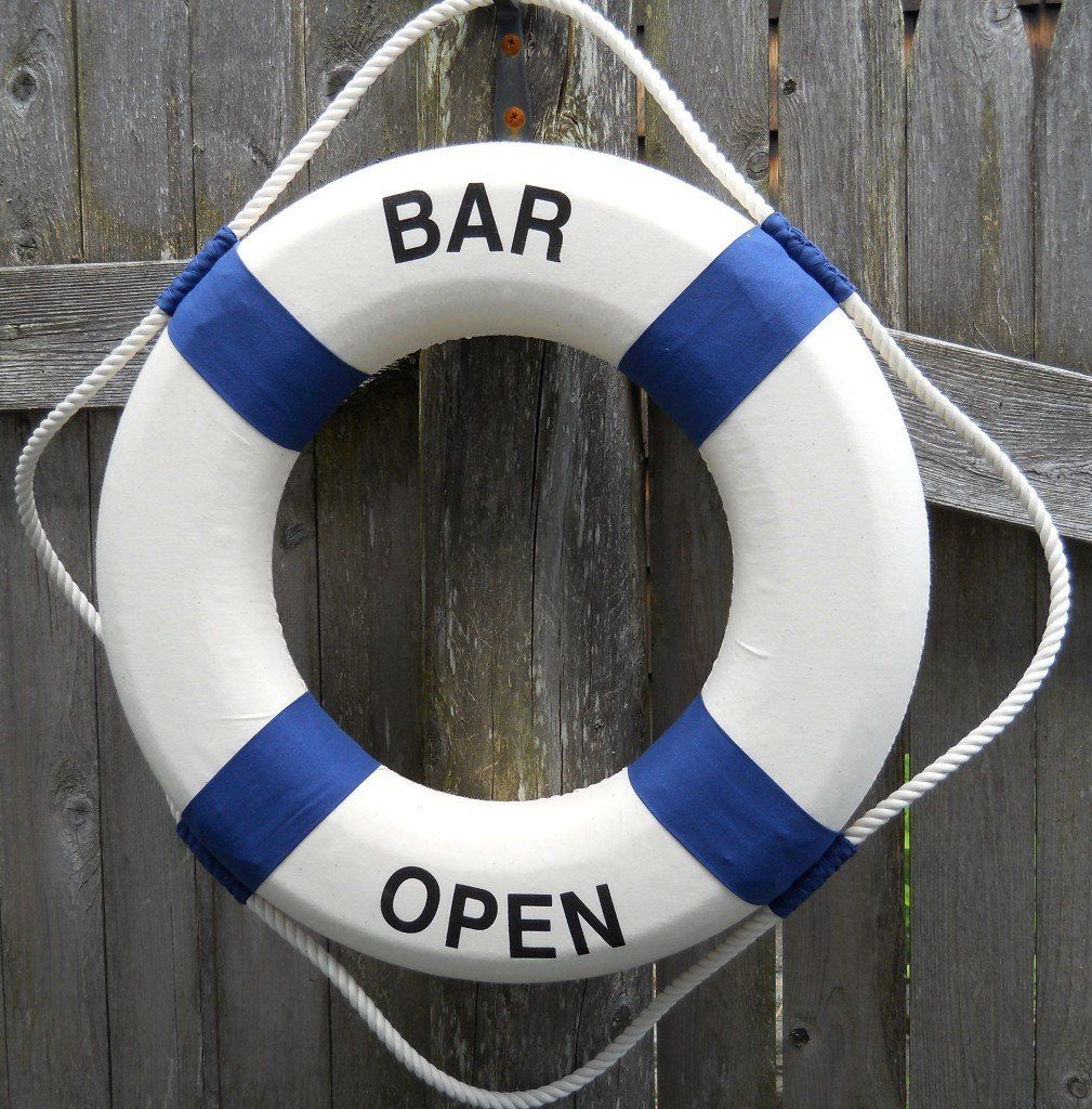 Decorative Life Ring Preserver With Saying: Bar Open