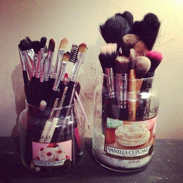 Makeuploversunite Makeup Organization Yankee Candle Jars Candle Jars