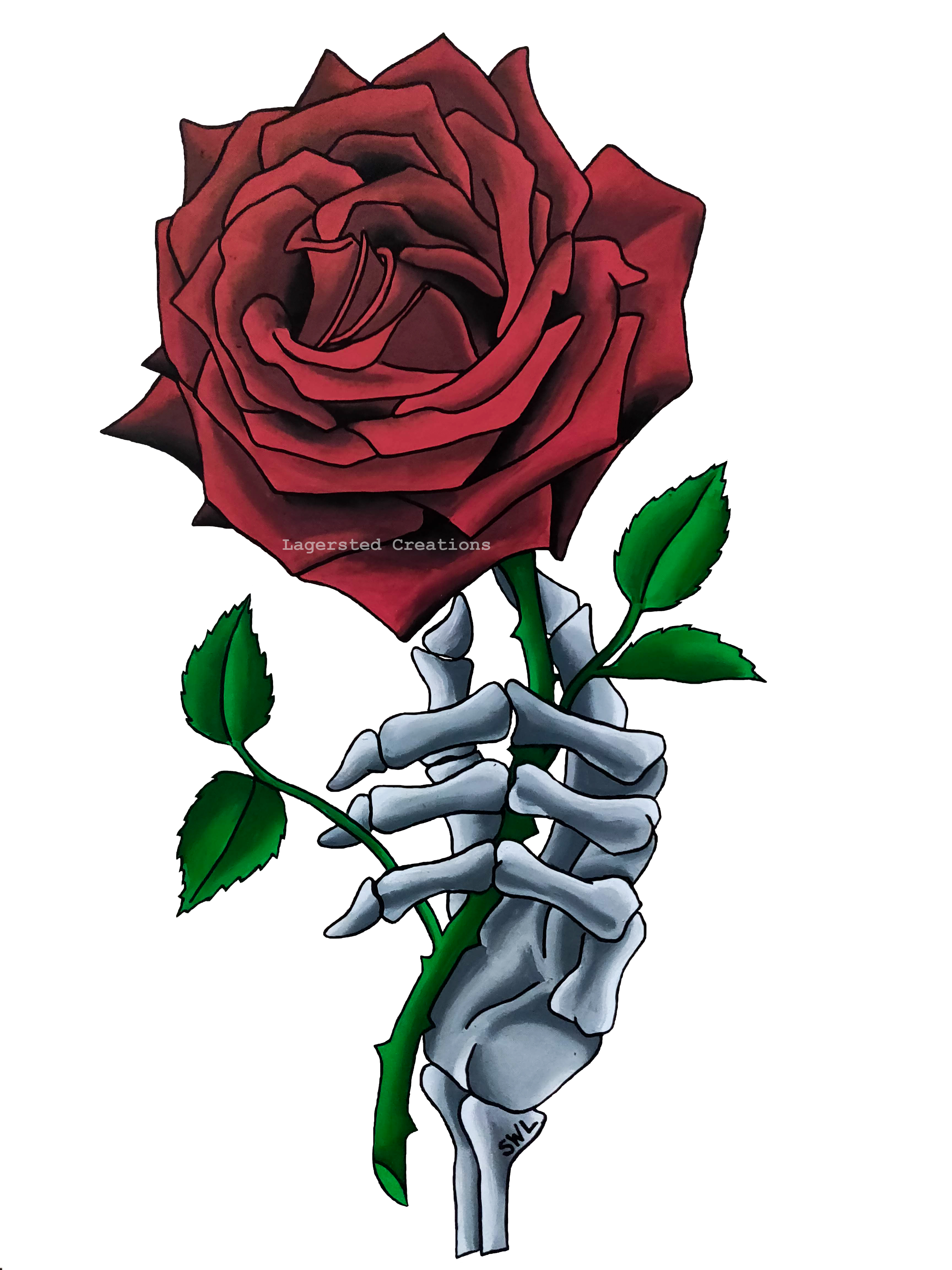 Skeleton Hand With Red Rose Artwork Red Rose Drawing Rose Sketch Skull Art Drawing