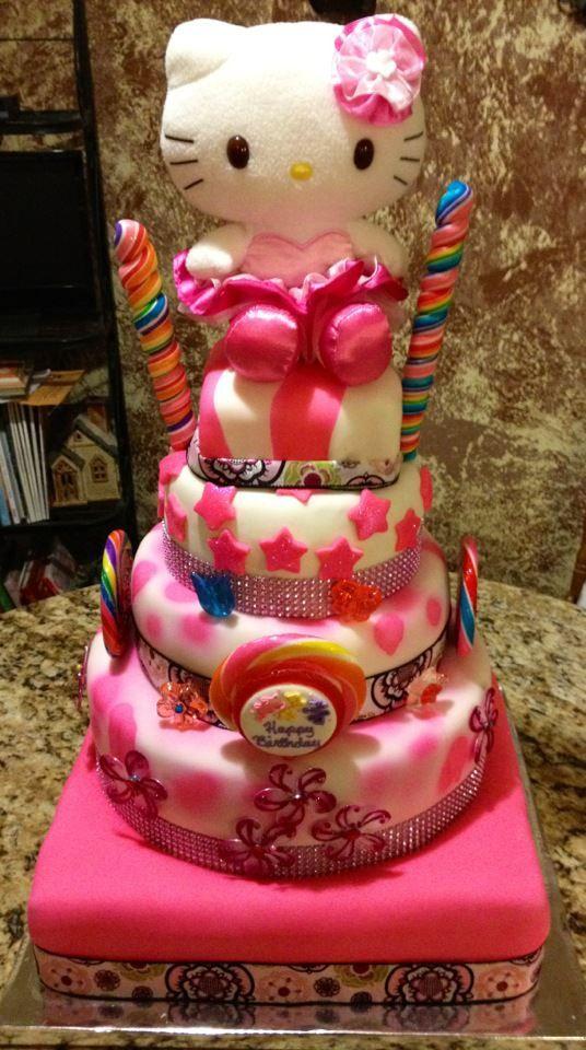 5 Tier Hello Kitty Birthday Cake