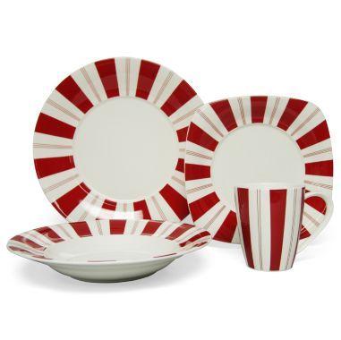 Dinnerware Set found at @JCPenney. Christmas ...  sc 1 st  Pinterest & Red Vanilla Tuxedo 16-pc. Dinnerware Set found at @JCPenney | momu0027s ...