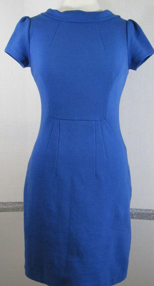 Boden Ottoman Dress Size 4 Blue Cotton Blend Collar Delicate V Shape Back  #Boden #Sheath #Casual