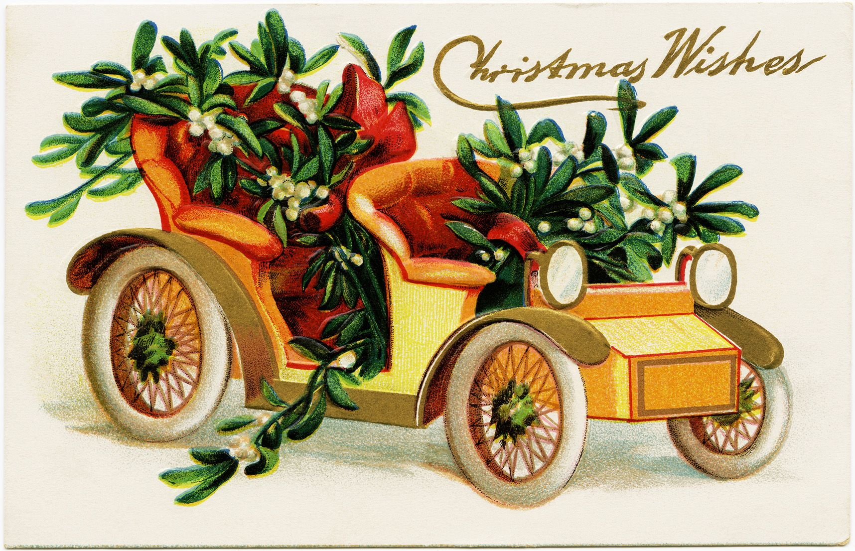 Vintage christmas postcard car filled with mistletoe old vintage christmas postcard car filled with mistletoe old fashioned christmas card holiday printable kristyandbryce Image collections