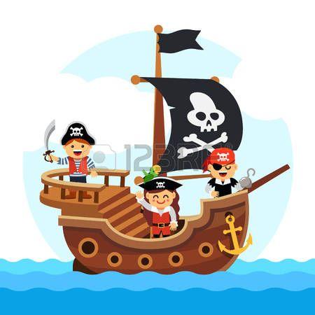 Pirata Caricatura Niños Pirata Barco Navegando En El Mar Con La