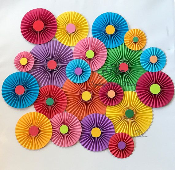 Rainbow Circus Party Backdrop Paper Fans Birthday Party Sweet Table