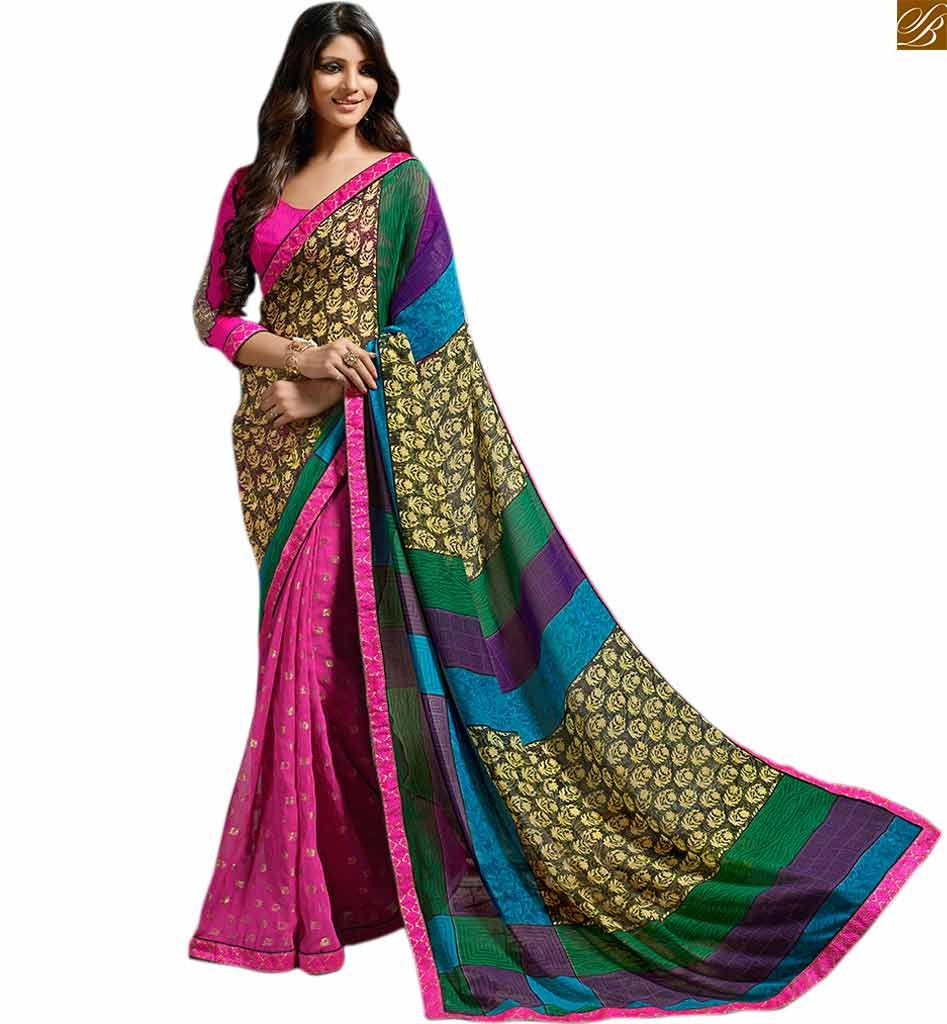 Pink georgette printed designer saree with lace border and Pink art-silk low neck desing blouse.