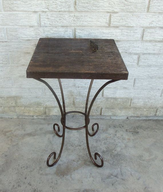 Small Table Plant Stand Reclaimed Barn Wood  Wrought Iron Unique