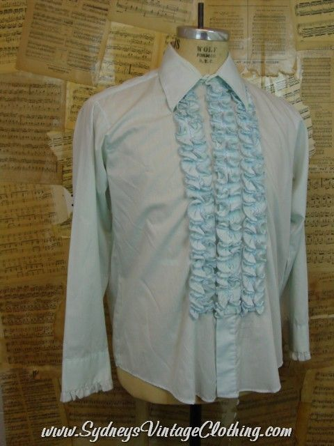 Vintage 70\'s Light Blue Ruffle Tacky Prom Tuxedo Shirt XXLarge ...