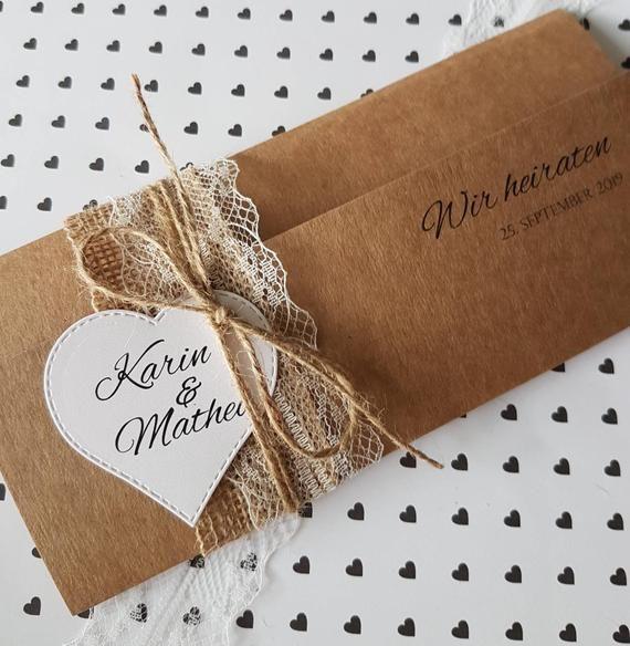 10x Invitación VINTAGE para boda Invitaciones de boda Papel Kraft Encaje Impresión rústica y sobre