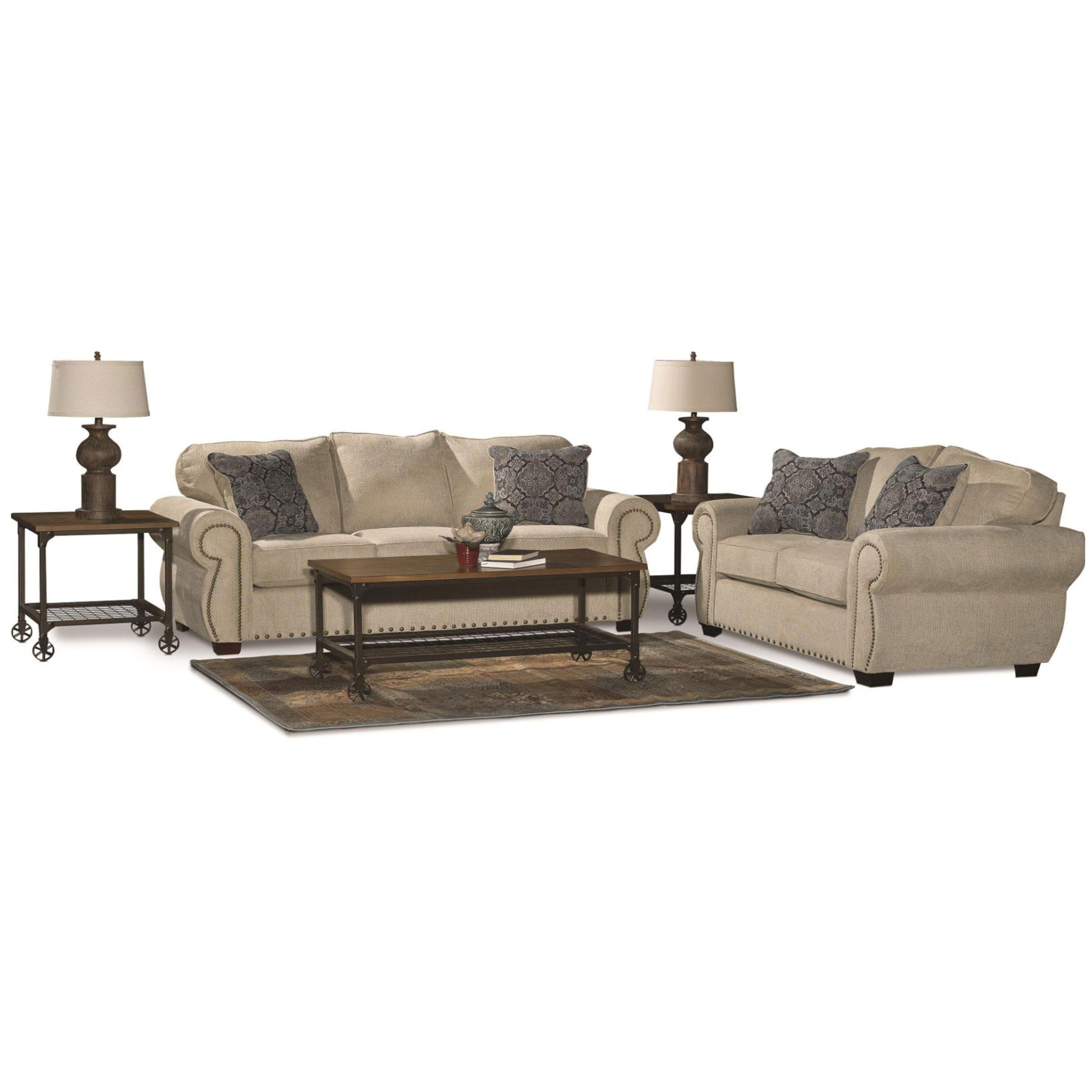 Best Casual Traditional Canvas Tan 7 Piece Living Room Set 400 x 300